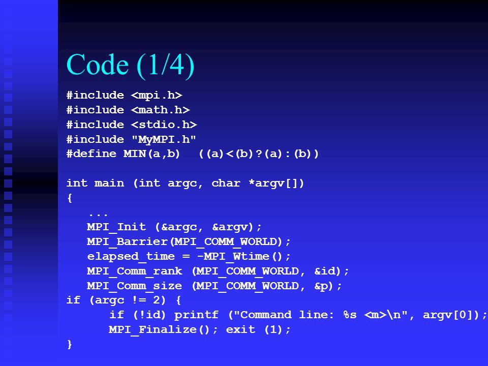 Code (1/4) #include #include