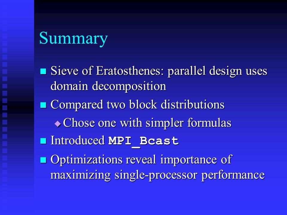 Summary Sieve of Eratosthenes: parallel design uses domain decomposition Sieve of Eratosthenes: parallel design uses domain decomposition Compared two