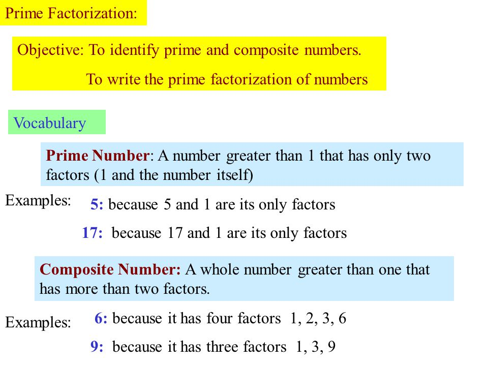Prime Factorization: Objective: To identify prime and composite numbers. To write the prime factorization of numbers Vocabulary Prime Number: A number