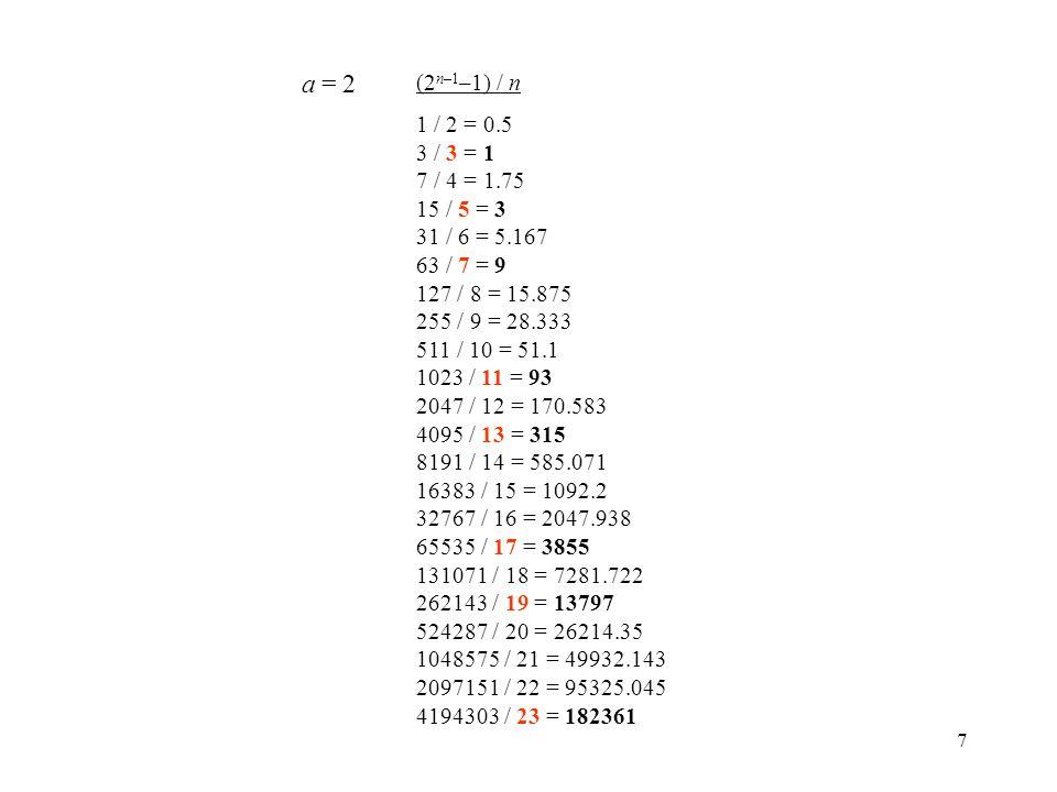 7 (2 n–1 –1) / n 1 / 2 = 0.5 3 / 3 = 1 7 / 4 = 1.75 15 / 5 = 3 31 / 6 = 5.167 63 / 7 = 9 127 / 8 = 15.875 255 / 9 = 28.333 511 / 10 = 51.1 1023 / 11 = 93 2047 / 12 = 170.583 4095 / 13 = 315 8191 / 14 = 585.071 16383 / 15 = 1092.2 32767 / 16 = 2047.938 65535 / 17 = 3855 131071 / 18 = 7281.722 262143 / 19 = 13797 524287 / 20 = 26214.35 1048575 / 21 = 49932.143 2097151 / 22 = 95325.045 4194303 / 23 = 182361 a = 2
