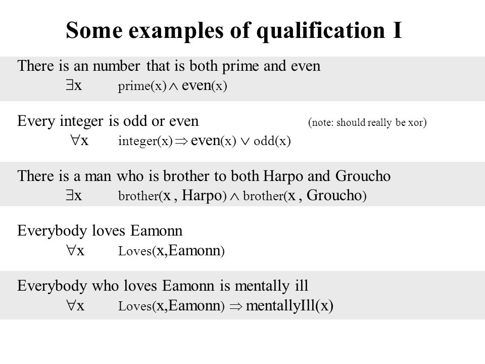 Some examples of qualification I There is an number that is both prime and even  x prime(x)  even (x) Every integer is odd or even ( note: should really be xor )  x integer(x)  even (x)  odd(x) There is a man who is brother to both Harpo and Groucho  x brother( x, Harpo )  brother( x, Groucho ) Everybody loves Eamonn  x Loves( x,Eamonn ) Everybody who loves Eamonn is mentally ill  x Loves( x,Eamonn )  mentallyIll(x)