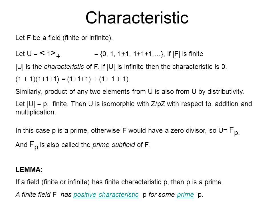 Size of a finite field Theorem 1.1 The cardinality of F is p n where n = [F : F p ] and F p denotes the prime subfield of F.cardinalityprime subfield Proof.
