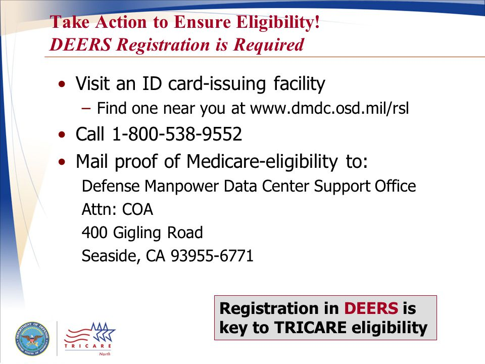 14 Eligibility for TRICARE Prime Remote / TPRADFM National Guard or Reserve sponsor –Activated more than 30 consecutive days –Live and work more than 50 miles (or an hour's drive time) from an MTF –Sponsor's residence address must be in DEERS –Family must reside with sponsor in a designated TPR ZIP code at time of activation To see if you qualify, check your ZIP code at www.tricare.mil/tpr.