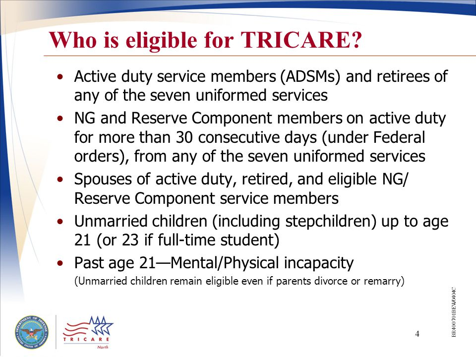5 Service Member Coverage Varies… When on military duty for 30 days or less –Line of duty coverage –TRICARE Dental Program –TRICARE Reserve Select When called or ordered to active duty for more than 30 consecutive days –Active duty health and dental benefits, including pharmacy –Automatic termination from TRICARE Reserve Select After leaving active service, or demobilizing –Transitional health coverage, including pharmacy –TRICARE Dental Program –TRICARE Reserve Select BR413001BET0605W