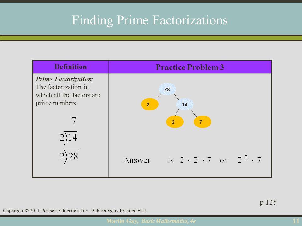 Martin-Gay, Basic Mathematics, 4e 11 Copyright © 2011 Pearson Education, Inc. Publishing as Prentice Hall. Definition Practice Problem 3 Prime Factori