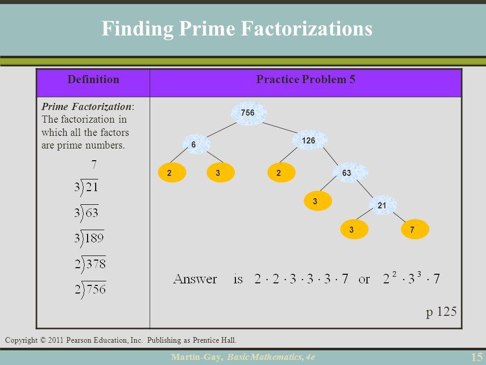 Martin-Gay, Basic Mathematics, 4e 15 Copyright © 2011 Pearson Education, Inc. Publishing as Prentice Hall. DefinitionPractice Problem 5 Prime Factoriz