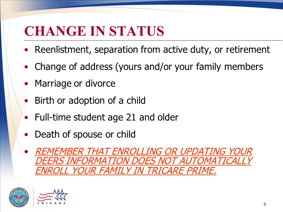 5 CHANGE IN STATUS Reenlistment, separation from active duty, or retirement Change of address (yours and/or your family members Marriage or divorce Bi