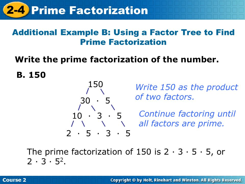 Write the prime factorization of the number.