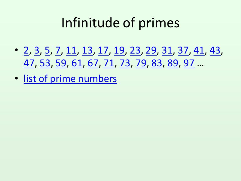 Testing for prime numbers Is 97 a prime number? How about 111? How about 12345678987654321?