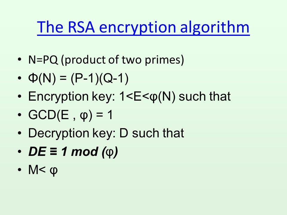 Encryption/Decryption C=M D mod (N) R=C E mod (N) CLAIM: R=M (the original message)