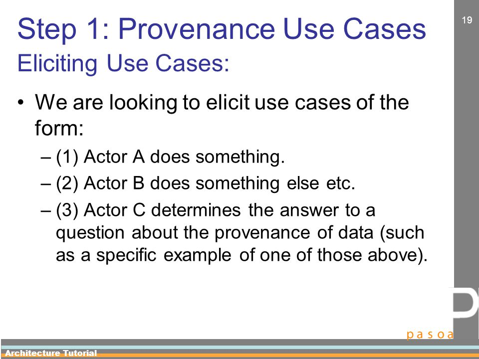 Architecture Tutorial 19 Step 1: Provenance Use Cases Eliciting Use Cases: We are looking to elicit use cases of the form: –(1) Actor A does something.