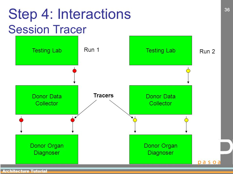 Architecture Tutorial 36 Step 4: Interactions Session Tracer Testing Lab Donor Data Collector Donor Organ Diagnoser Testing Lab Donor Data Collector Donor Organ Diagnoser Run 1 Run 2 Tracers
