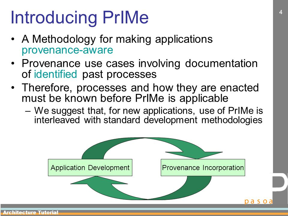 Architecture Tutorial 15 Step 1: Provenance Use Cases Gathering Core Use Cases It is not always obvious to users what use cases they could expect the provenance architecture to support.
