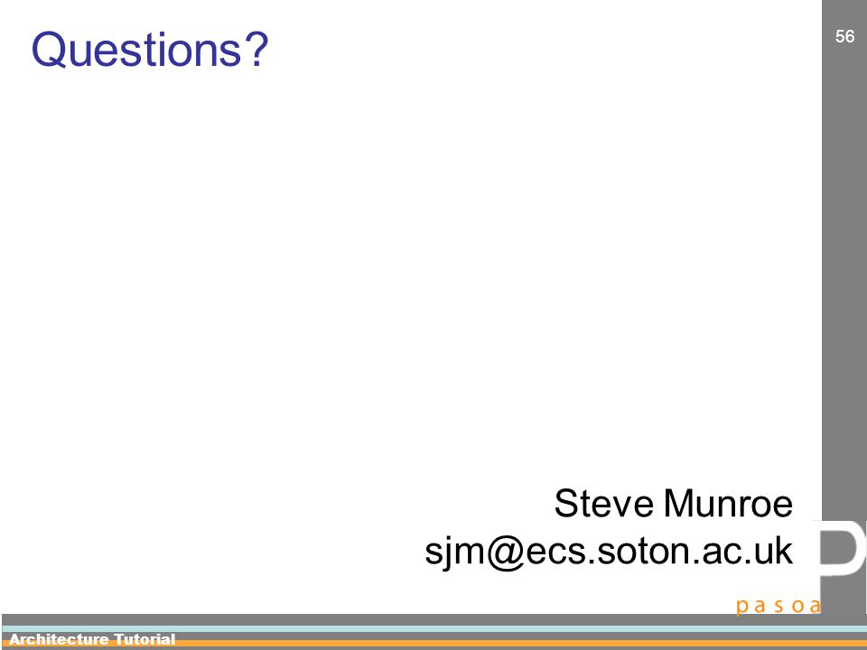 Architecture Tutorial 56 Questions Steve Munroe sjm@ecs.soton.ac.uk
