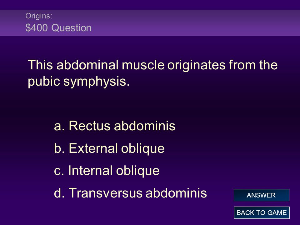 Origins: $400 Question This abdominal muscle originates from the pubic symphysis.