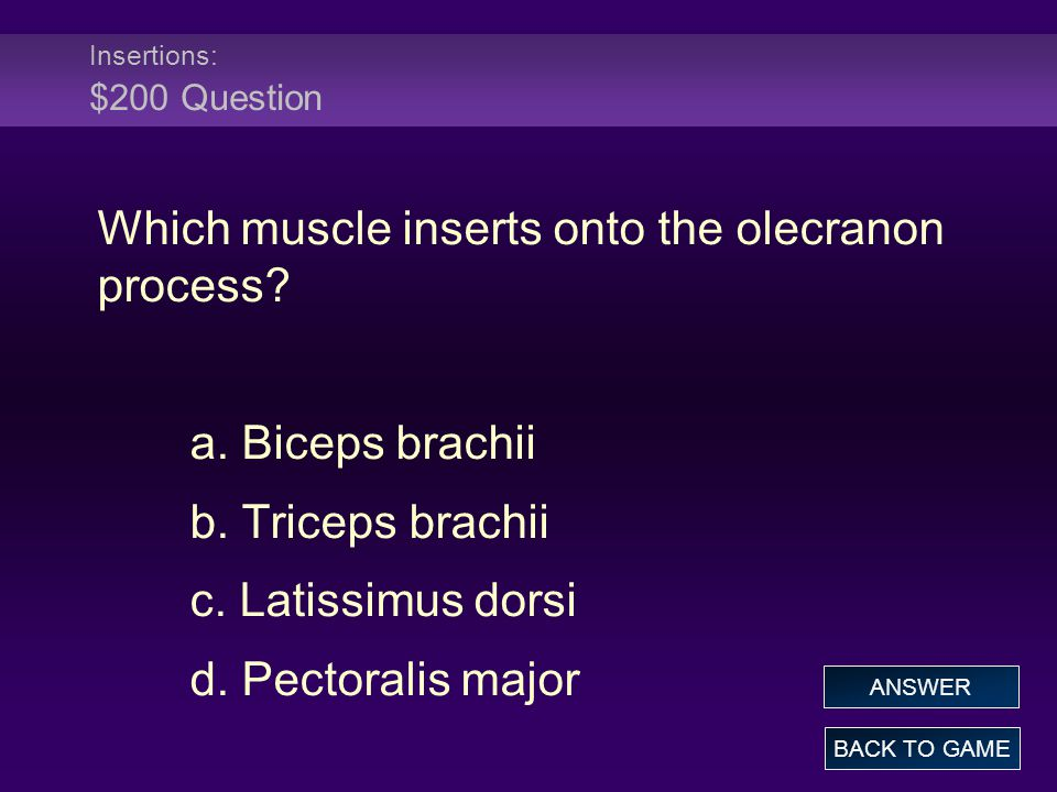 Insertions: $200 Question Which muscle inserts onto the olecranon process.