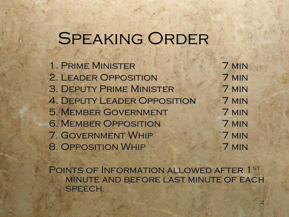 4 Speaking Order 1. Prime Minister7 min 2. Leader Opposition7 min 3.