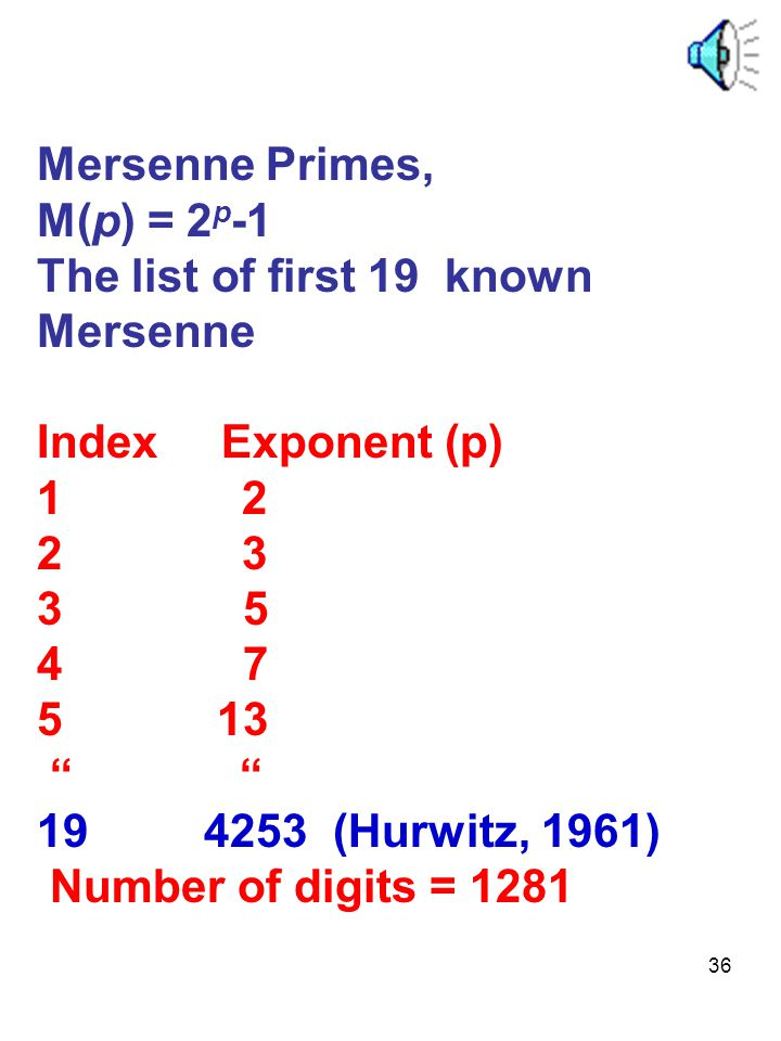 "36 Mersenne Primes, M(p) = 2 p -1 The list of first 19 known Mersenne Index Exponent (p) 1 2 2 3 3 5 4 7 5 13 "" "" 19 4253 (Hurwitz, 1961) Number of di"