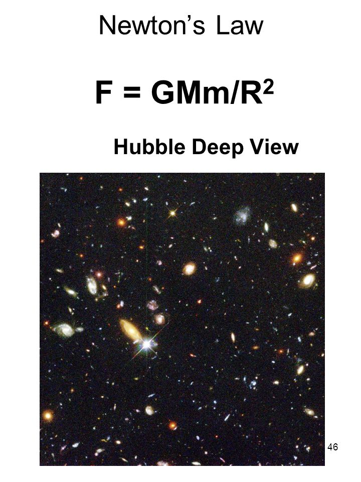 46 Newton's Law F = GMm/R 2 Hubble Deep View