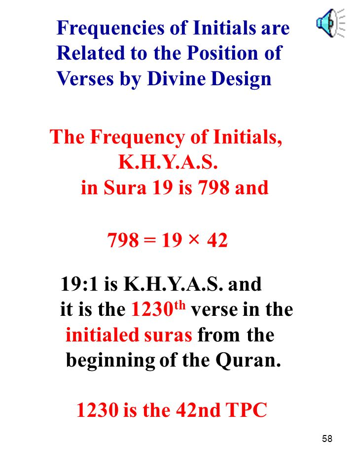 58 Frequencies of Initials are Related to the Position of Verses by Divine Design The Frequency of Initials, K.H.Y.A.S. in Sura 19 is 798 and 798 = 19
