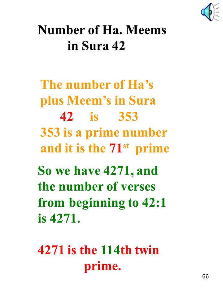 66 Number of Ha. Meems in Sura 42 The number of Ha's plus Meem's in Sura 42 is 353 353 is a prime number and it is the 71 st prime So we have 4271, an