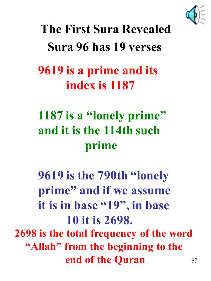 "67 The First Sura Revealed Sura 96 has 19 verses 9619 is a prime and its index is 1187 1187 is a ""lonely prime"" and it is the 114th such prime 9619 is"