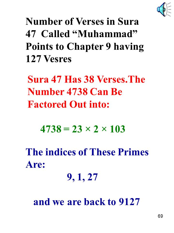 "69 Number of Verses in Sura 47 Called ""Muhammad"" Points to Chapter 9 having 127 Vesres Sura 47 Has 38 Verses.The Number 4738 Can Be Factored Out into:"