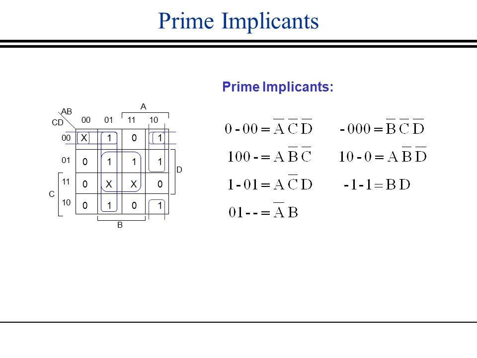 Prime Implicants Prime Implicants: X101 0111 0XX0 0101 AB 000111 01 11 10 C CD A D B 00 10