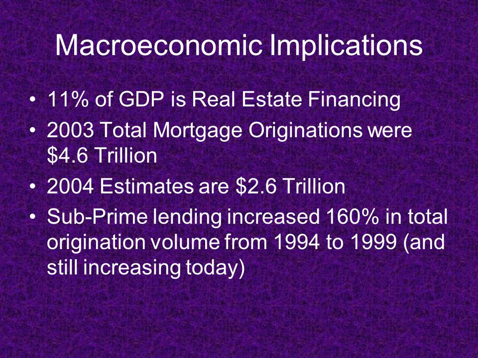 Macroeconomic Implications 11% of GDP is Real Estate Financing 2003 Total Mortgage Originations were $4.6 Trillion 2004 Estimates are $2.6 Trillion Sub-Prime lending increased 160% in total origination volume from 1994 to 1999 (and still increasing today)