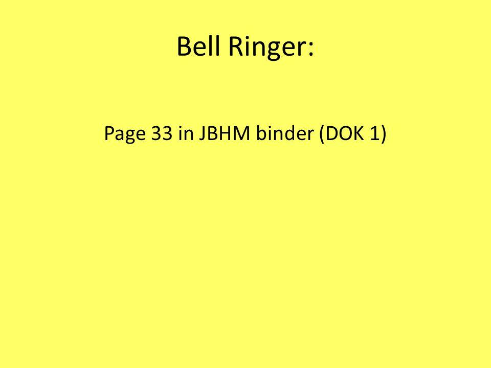 Bell Ringer: Page 33 in JBHM binder (DOK 1)