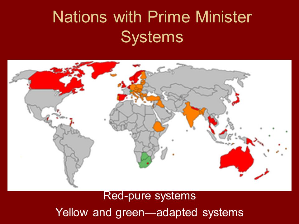 Nations with Prime Minister Systems Red-pure systems Yellow and green—adapted systems