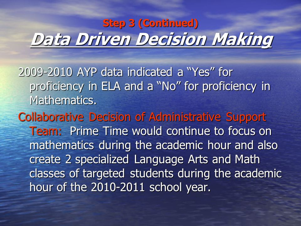 Step 3 (Continued) Data Driven Decision Making 2009-2010 AYP data indicated a Yes for proficiency in ELA and a No for proficiency in Mathematics.