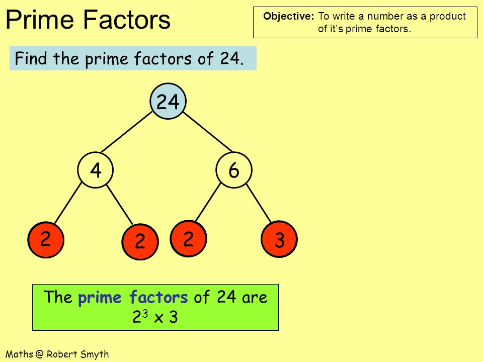 Objective: To write a number as a product of it's prime factors.