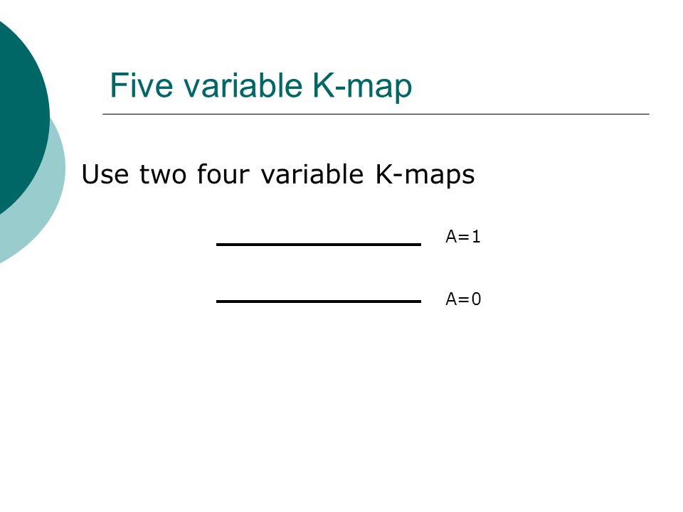 Five variable K-map A=1 A=0 Use two four variable K-maps