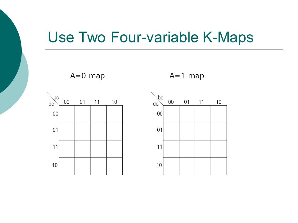 Use Two Four-variable K-Maps A=0 mapA=1 map