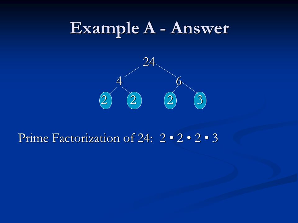 Example A - Answer 24 46 2 223 2 223 Prime Factorization of 24: 2 2 2 3