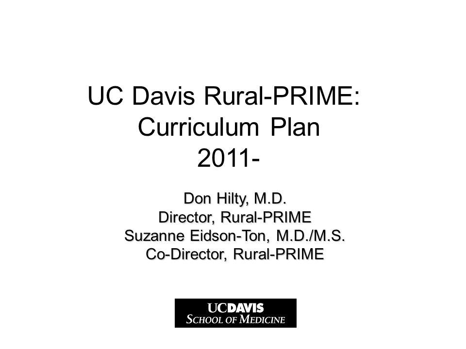Don Hilty, M.D. Director, Rural-PRIME Suzanne Eidson-Ton, M.D./M.S.