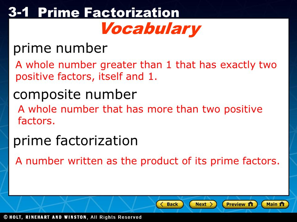 Holt CA Course 1 3-1 Prime Factorization Check It Out.