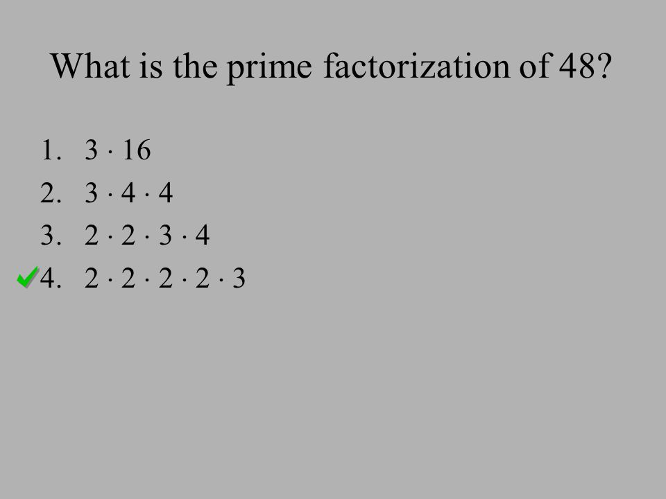 What is the prime factorization of 48? 1.3  16 2.3  4  4 3.2  2  3  4 4.2  2  2  2  3
