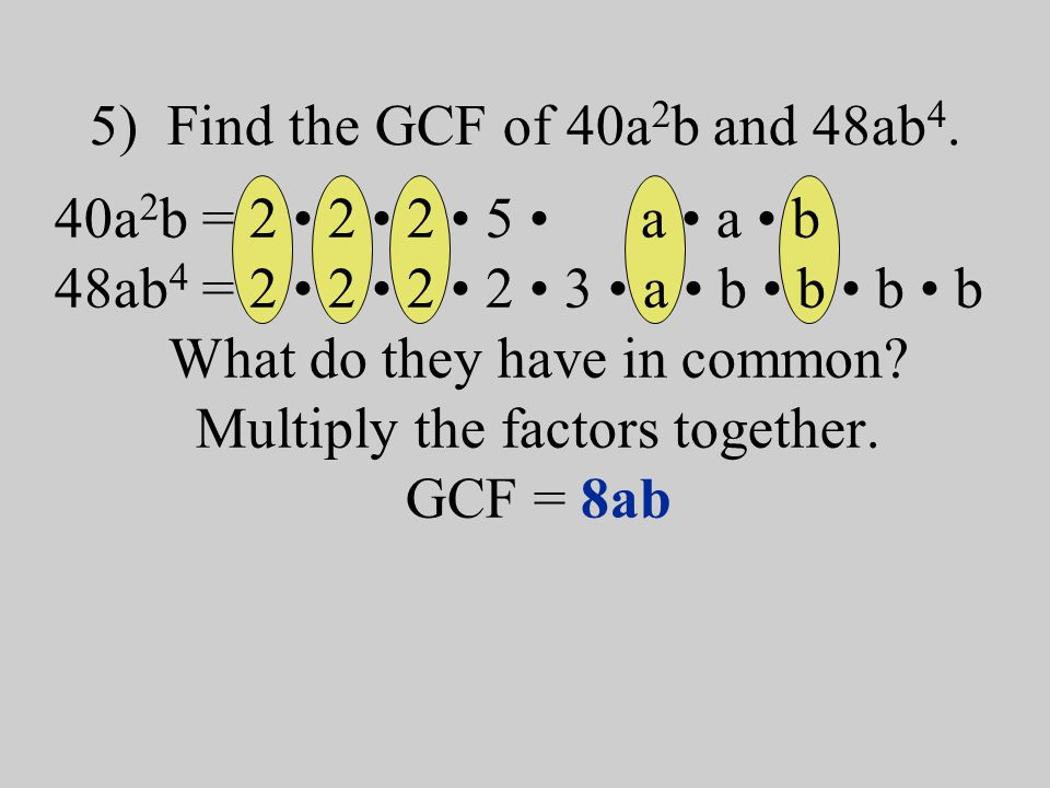 What is the GCF of 48 and 64? 1.2 2.4 3.8 4.16