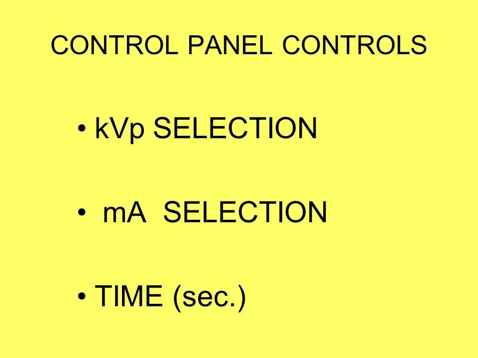 CONTROL PANEL CONTROLS kVp SELECTION mA SELECTION TIME (sec.)