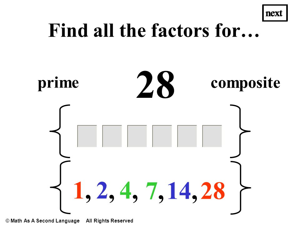 28 1,1, 2,2, 14, 4,4, next Find all the factors for… 7,7, prime composite next © Math As A Second Language All Rights Reserved