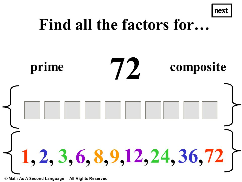 72 1,1, 2,2, 36,3,3, next Find all the factors for… 24, 6,6, 12, next prime composite next 8,8,9,9, © Math As A Second Language All Rights Reserved