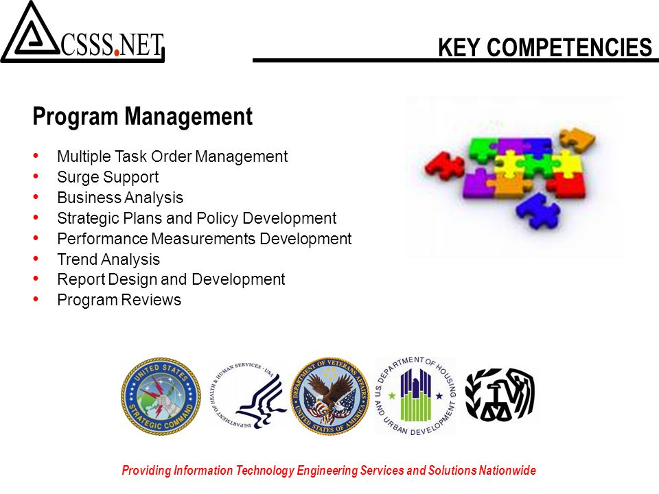 IT'S EASY TO DO BUSINESS WITH US Providing Information Technology Engineering Services and Solutions Nationwide 8a/SDB & SDVOSB Direct Award Eligibility – No competition Navy Seaport-e – Prime Contractor USSTRATCOM USAMS II – Prime Contractor DISA Encore II – Subcontractor to SAIC NAVAIR LMSS – Subcontractor to Alion Science VA VistA – Prime Contractor GSA VETS GWAC – Prime Contractor GSA Schedule 70 IT Professional Services
