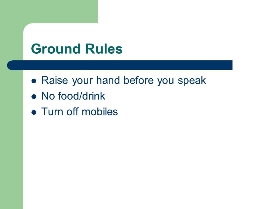 Ground Rules Raise your hand before you speak No food/drink Turn off mobiles