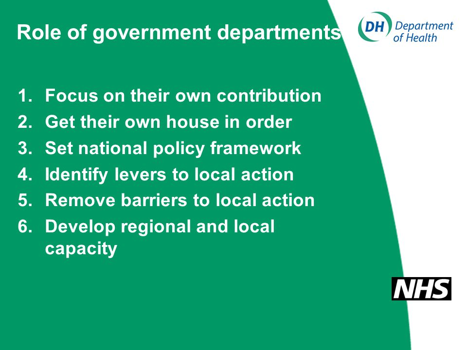 Role of government departments 1.Focus on their own contribution 2.Get their own house in order 3.Set national policy framework 4.Identify levers to l