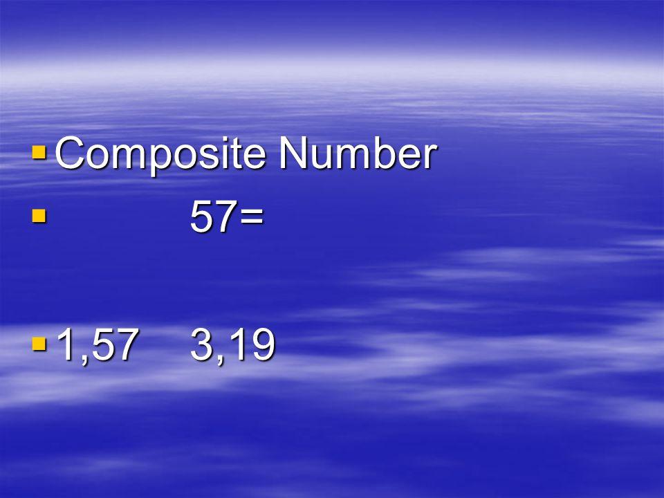  Composite Number  57=  1,57 3,19