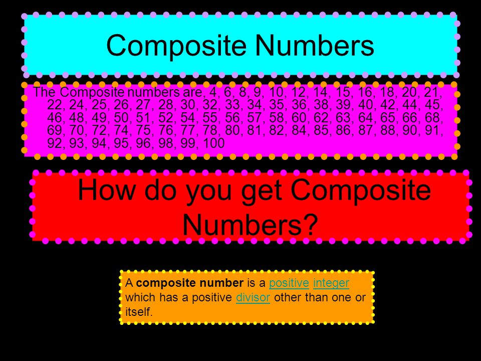 Composite Numbers The Composite numbers are, 4, 6, 8, 9, 10, 12, 14, 15, 16, 18, 20, 21, 22, 24, 25, 26, 27, 28, 30, 32, 33, 34, 35, 36, 38, 39, 40, 42, 44, 45, 46, 48, 49, 50, 51, 52, 54, 55, 56, 57, 58, 60, 62, 63, 64, 65, 66, 68, 69, 70, 72, 74, 75, 76, 77, 78, 80, 81, 82, 84, 85, 86, 87, 88, 90, 91, 92, 93, 94, 95, 96, 98, 99, 100 How do you get Composite Numbers.