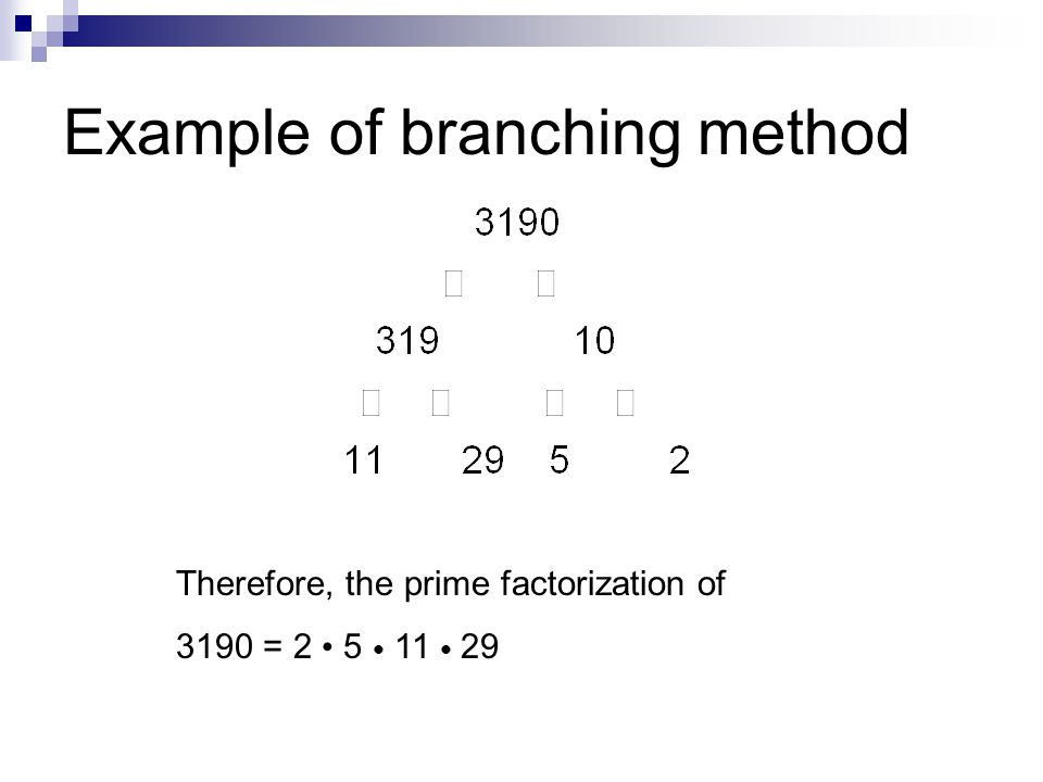 1.Divide the given number by the smallest prime number by which it is divisible.