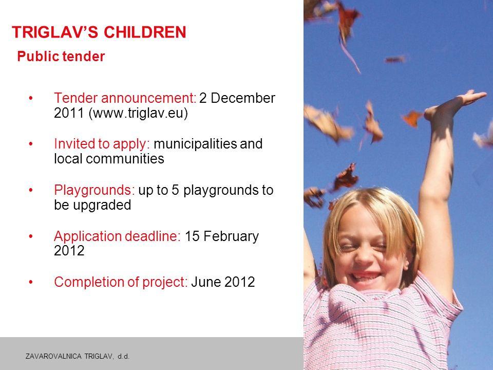 ZAVAROVALNICA TRIGLAV, d.d. 17 TRIGLAV'S CHILDREN Public tender Tender announcement: 2 December 2011 (www.triglav.eu) Invited to apply: municipalities